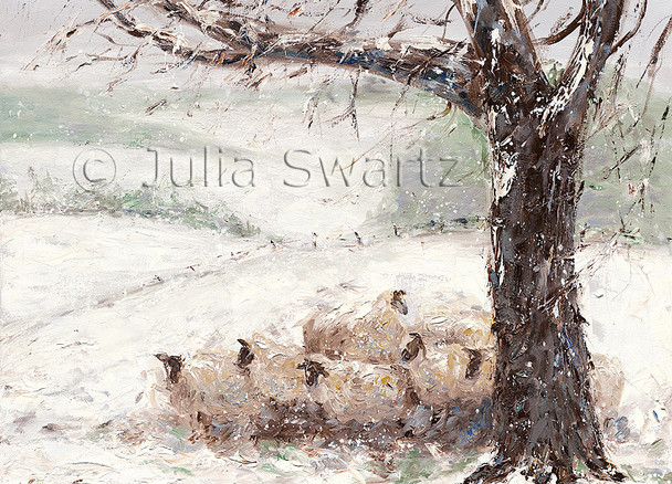 A note card of sheep in  a huddle in the snow