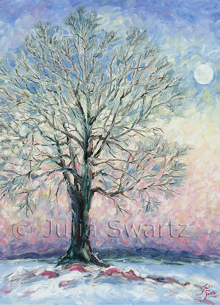 A note card from a painting of the Moon rise and a Sycamore tree by Julia Swartz