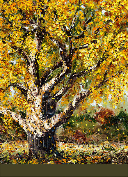 Autumn leaves falling to the ground note card