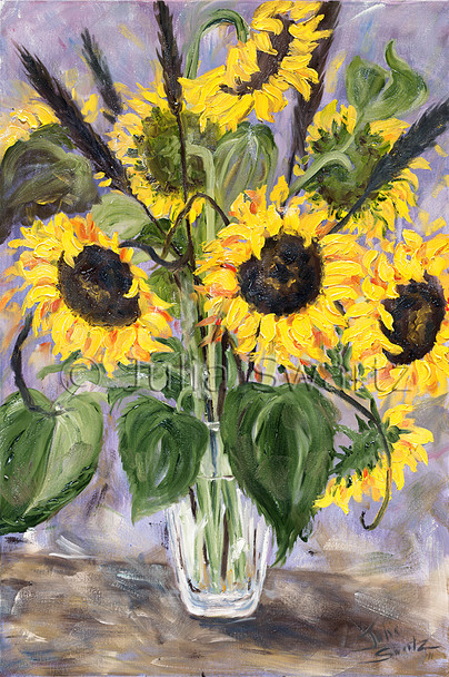 Sunflowers and black foxtails in a green vase painted with oil on canvas by Julia Swartz
