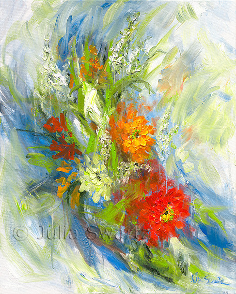 An impressionistic oil painting on canvas of a cluster of Zinnia flowers by Julia Swartz.