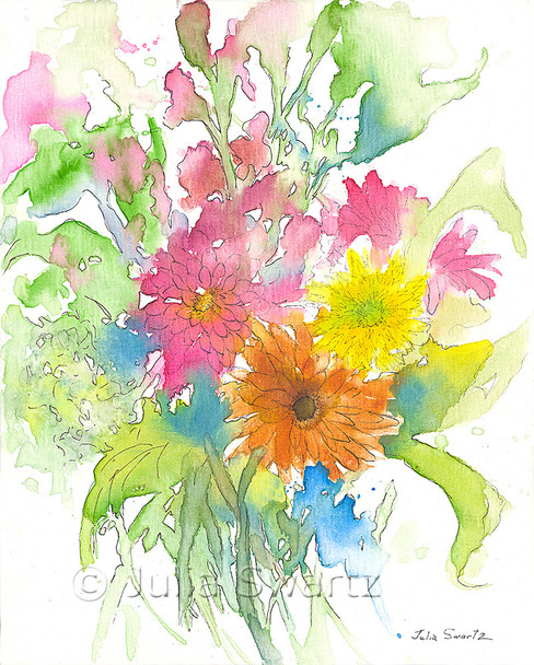 An impressionistic watercolor & Ink painting of a Sunflower and Zinnias painted on canvas by Julia Swartz.