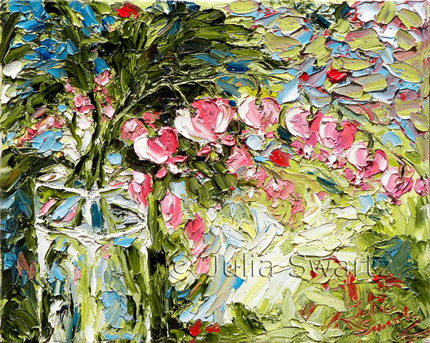 Perhaps Julia's most impressionistic piece, this palette knife oil painting depicts the Bleeding Hearts in a square glass vase.