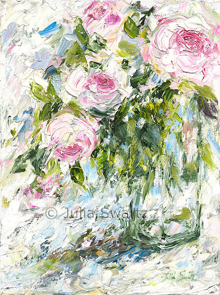 An original impressionistic oil painting on canvas of pink English Roses by Julia Swartz.