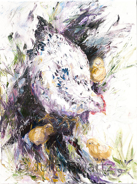 An oil painting of a black and white hen with three baby chicks by artist Julia Swartz
