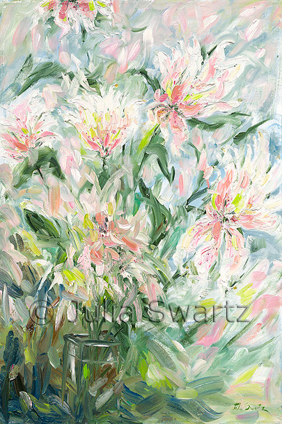 An original impressionist oil painting on canvas of Peach double Tulips by Julia Swartz.