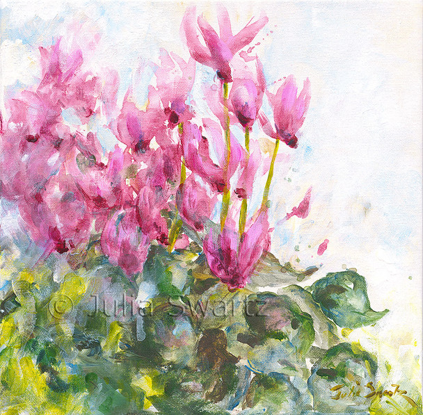 An original acrylic painting on canvas of Pink Cyclamen flowers by Julia Swartz.