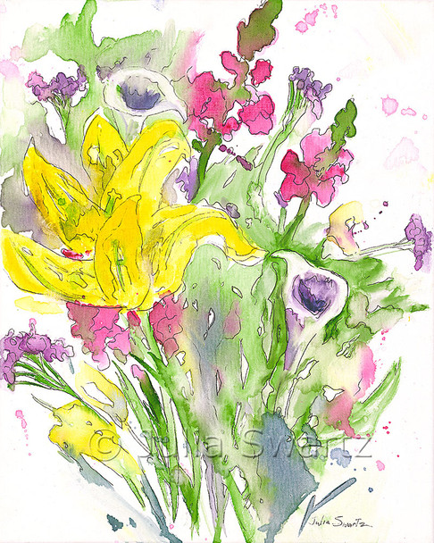 An impressionistic watercolor & Ink painting of a bouquet of flowers painted on canvas by Julia Swartz. Summer Bouquet 1