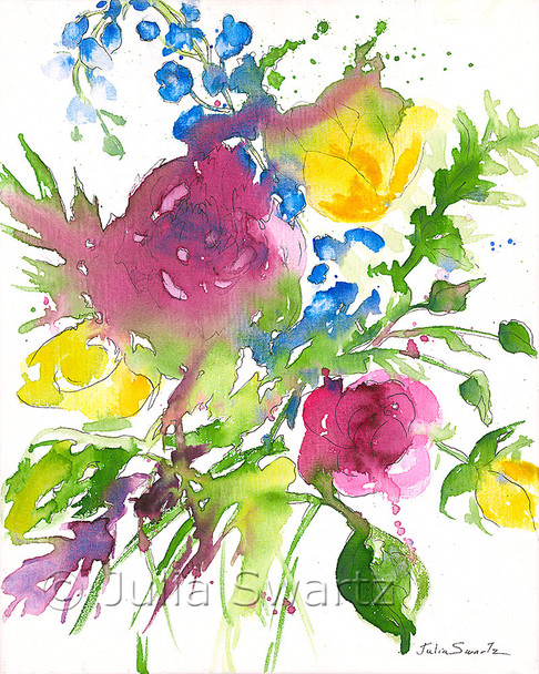 An impressionistic watercolor & Ink painting of a bouquet of flowers painted on canvas by Julia Swartz. Summer Bouquet 3