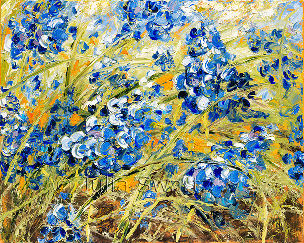 These blue bells painting are from Julia's garden.  Using a palette knife again,  with oil on canvas