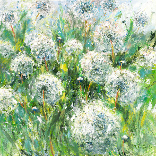 An original impressionist oil painting on canvas of Dandelions by Julia Swartz.