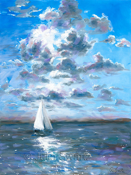 An oil painting of a sailboat on the Chesapeake Bay by Julia Swartz