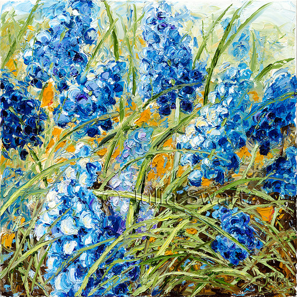 A palette knife oil painting of Bluebells aka grape hyacinth by Julia Swartz
