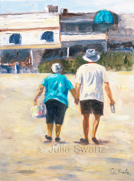 An original impressionistic oil painting on canvas of couple walking in from a day at the Beach by Julia Swartz.