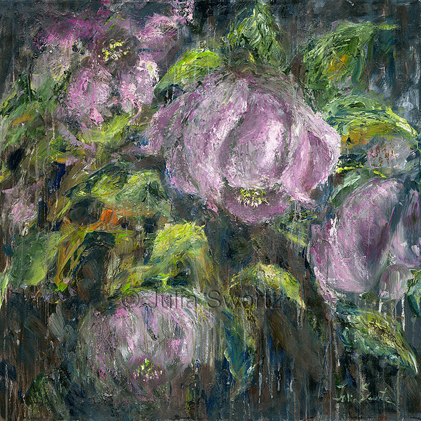 A impressionistic oil painting on canvas of Hellebores flowers by Julia Swartz.
