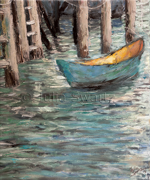 An impressionist oil painting of a small blue boat in Rocky Neck MA. The tide is out so all you see are tall pilings in the background. Painted by Julia Swartz.