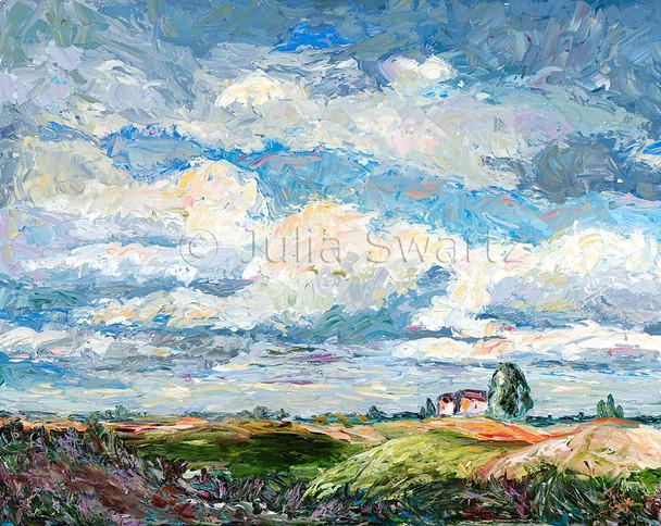 A blue Sky oil painting in Pennsylvania by artist Julia Swartz.