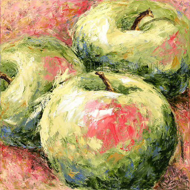 A close up oil painting on canvas of three Apples by Julia Swartz, Lancaster PA.