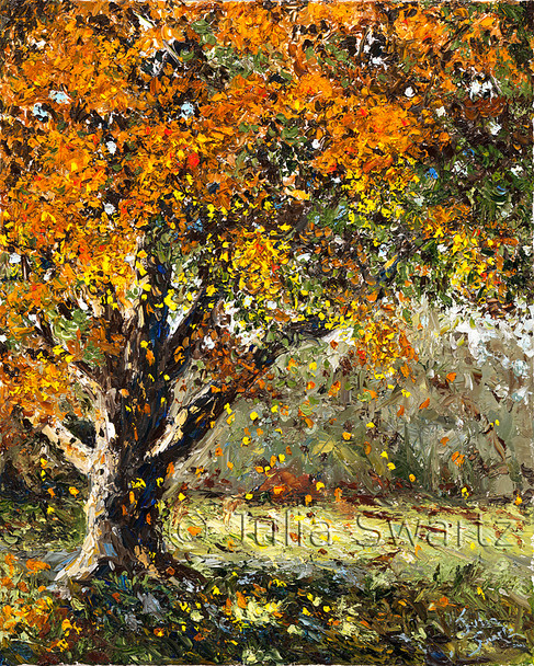 An oil paintings of a beach tree in the fall with golden colors and leaves falling to the ground.
