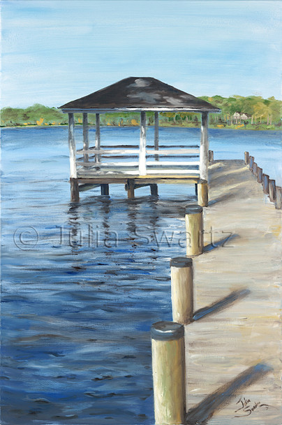 An Original Landscape Oil painting of a Boat House on the Chesapeake Bay by Julia Swartz.