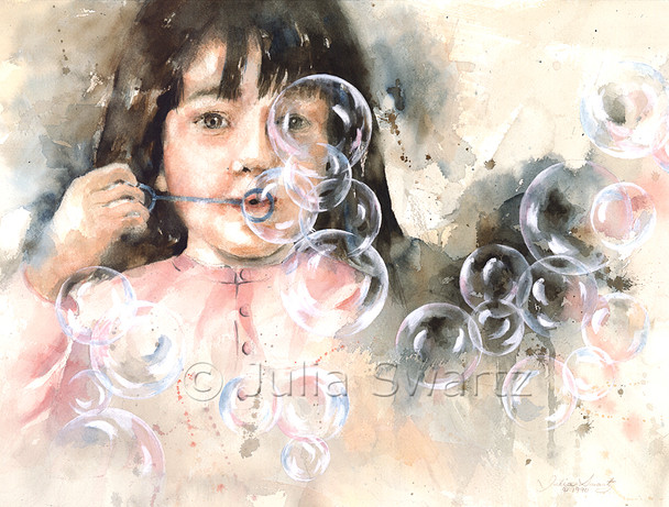 A watercolor paintings of a little girl blowing bubbles