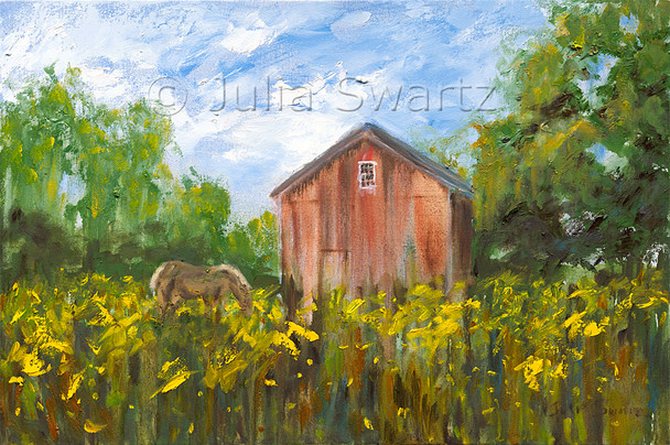 An impressionistic landscape oil painting of Buttercups by Julia Swartz, Lancaster PA.