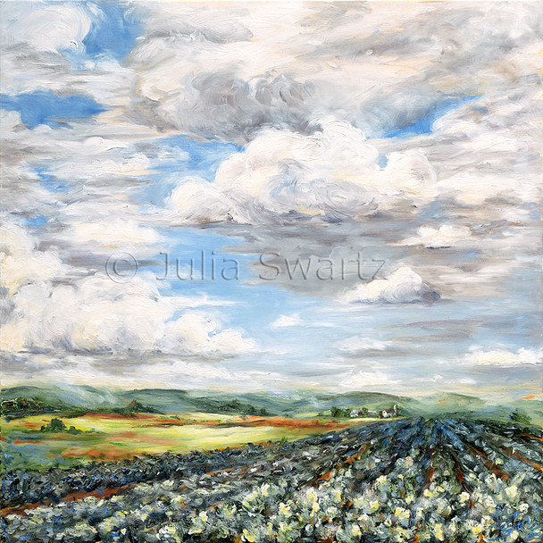 A landscape oil painting of a field of cabbage fluffy clouds in the sky by Julia Swartz.