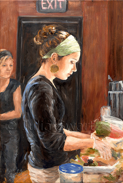 Making lunch at the Prince St cafe painted in oil on canvas.