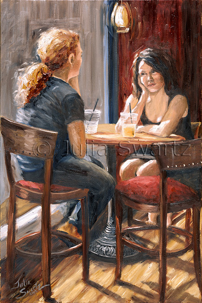 Two young women having lunch at Prince Street Cafe, oil painting on canvas by Julia Swartz