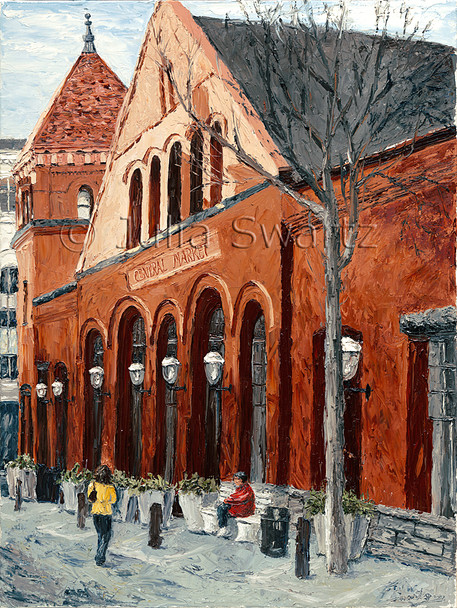 An oil painting of Central Market in Lancaster by Julia Swartz.
