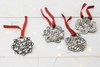 Holiday Cheer Pewter Christmas Ornament Set