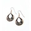 Copper Reflections Black Floral Earrings