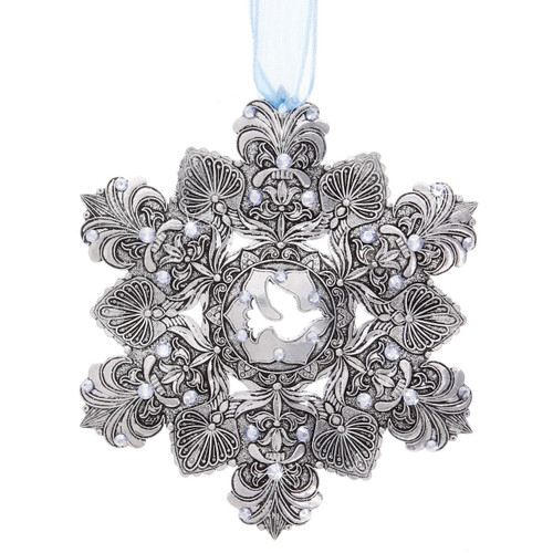 Snow Crystal Ornament with Swarovski Crystals - Peace Dove