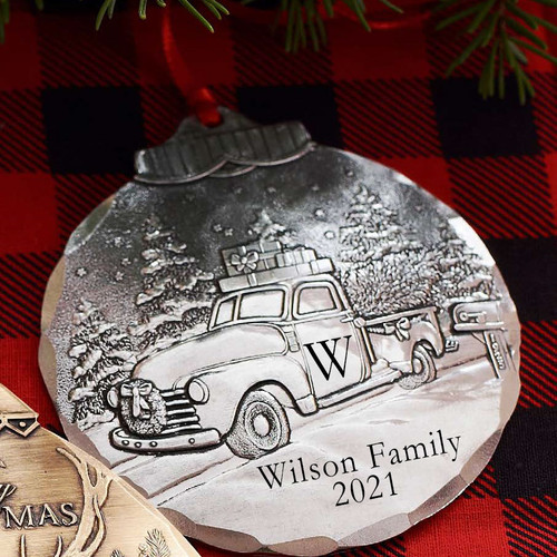 Personalized Christmas Vintage Truck Ornament