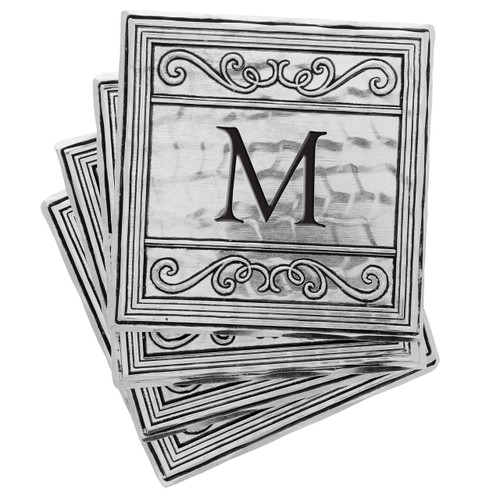 Filigree 4-Piece Personalized Square Coaster Set