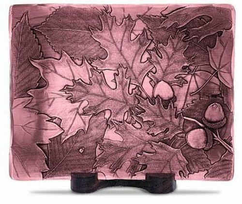 Autumn leaves hand etched metal tray