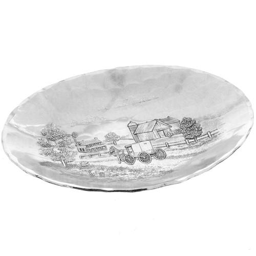 Amish Scene Decorative Metal Oval Bowl