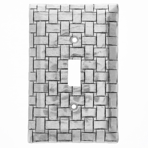 Basketweave Single Switch Plate Cover (Aluminum)