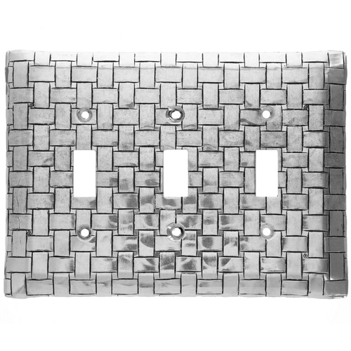 Basketweave Triple Switch Plate Cover (Aluminum)
