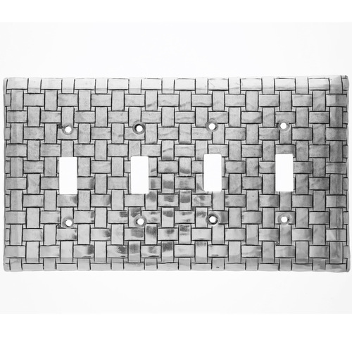 Basketweave Quad Switch Plate Cover (Aluminum)