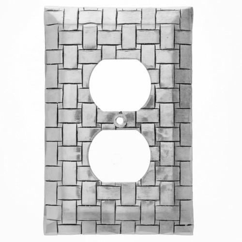 Basketweave Single Outlet Cover (Aluminum)