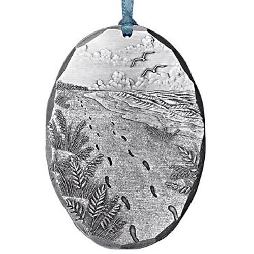 Footprints Religious Metal Christmas Ornament