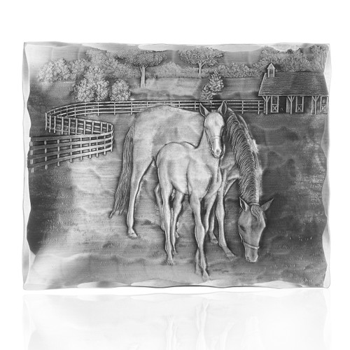 Tray engraved with horse and foal