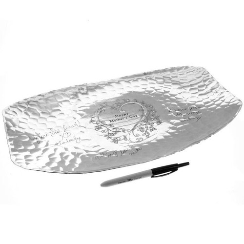 Wedding reception tray with signature pen