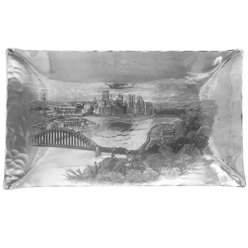 Tray engraved with Pittsburgh bridges panorama