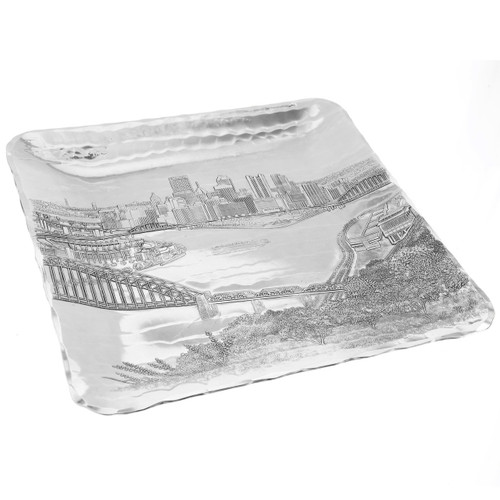 Table serving tray with hand engraved Pittsburgh scene