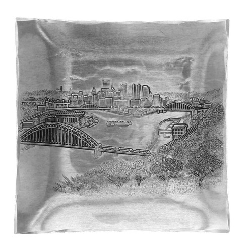 Pittsburgh skyline engraved appetizer tray