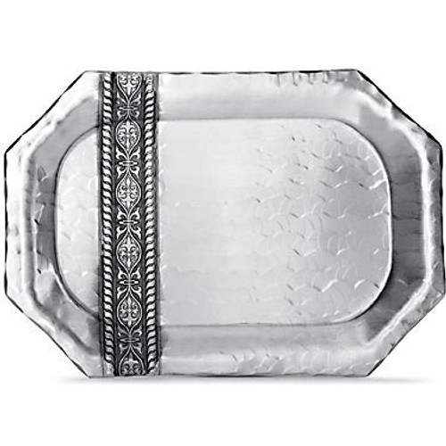Large serving tray in hand forged aluminum with filigree