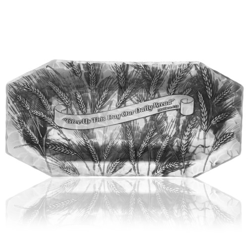 Give Us this Day bread tray hand carved design