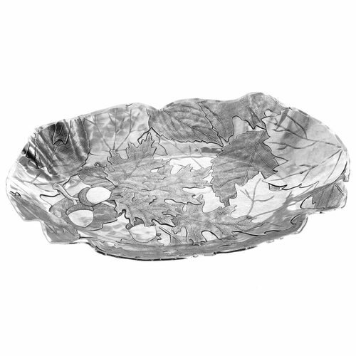 Metal entertaining tray with oak leaves